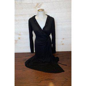 Gap Maternity Black Ruffle Wrap Dress Size L